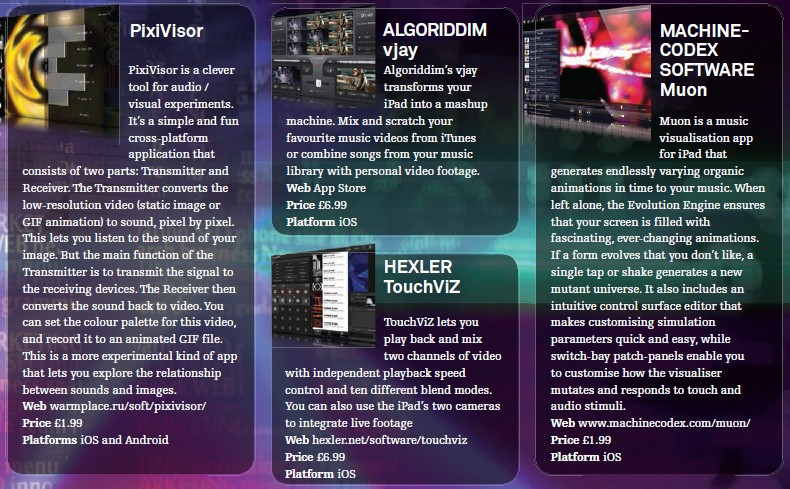 PixiVisor<br />Algoriddim - vjay<br />Hexler - TouchViZ<br />Machine - Codex Software Muon