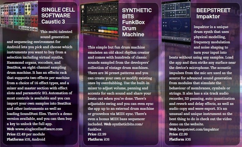Single Cell Software - Caustic 3<br />Synthetic Bits - FunkBox Drum Machine<br />Beepstreet - Impaktor