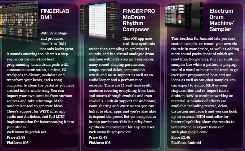 Fingerlab DM1<br />Fingerpro - MoDrum Rhythm Composer<br />Electrum Drum Machine / Sampler