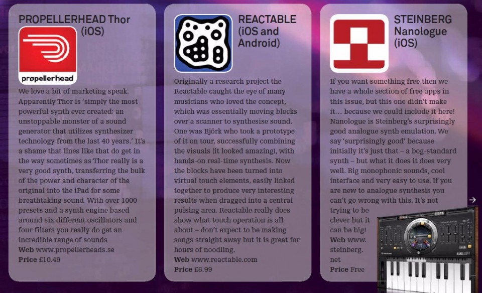 Propellerhead Thor - iOS<br />Reactable - iOS and Android<br />Steinberg Nanologue - iOS