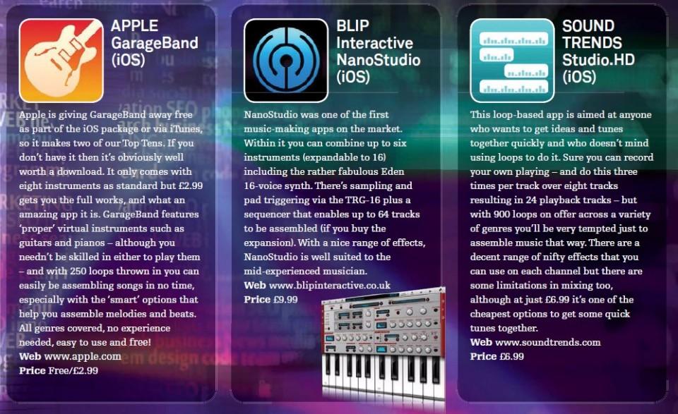 Apple - GarageBand (iOS)<br />Blip Interactive - NanoStudio (iOS)<br />Sound Trends - Studio.HD (iOS)