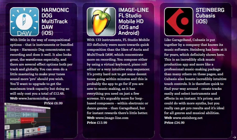 Harmonic Dog - MultiTrack DAW (iOS)<br />Image-Line - FL Studio Mobile HD (iOS and Android)<br />Steinberg - Cubasis (iOS)