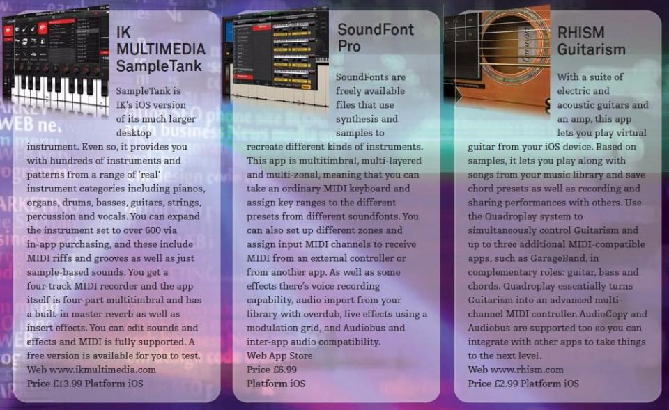 IK Multimedia SampleTank<br />SOundFont Pro<br />RHISM Guitarism