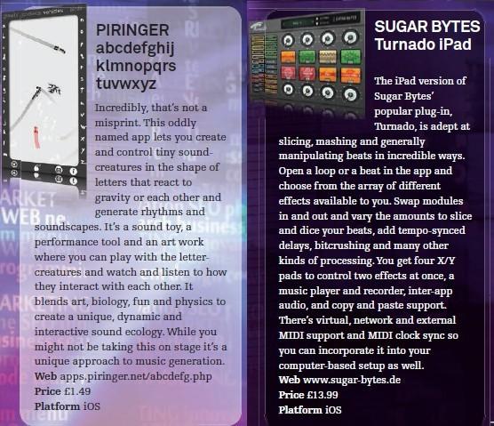 Piringer - abcdefghijklmnopqrstuvwxyz<br />Sugar Bytes - Turnado iPad