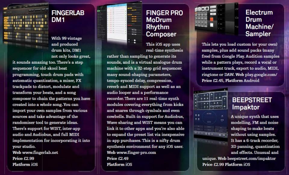 Fingerlab DM1<br />Finger Pro - MoDrum Rhythm Composer<br />Electrum Drum Machine / Sampler<br />Beepstreet Impaktor
