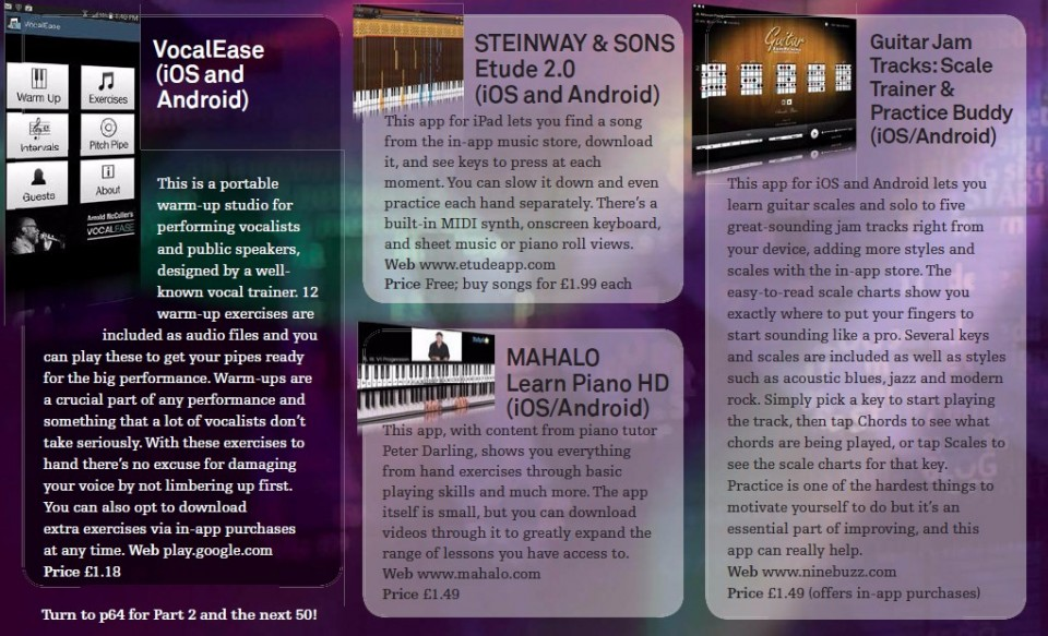 VocalEase<br />Steinway & Sons Etude 2.0<br />Guitar Jam Tracks: Scale Trainer & Practice Buddy<br />Mahalo Learn Piano HD