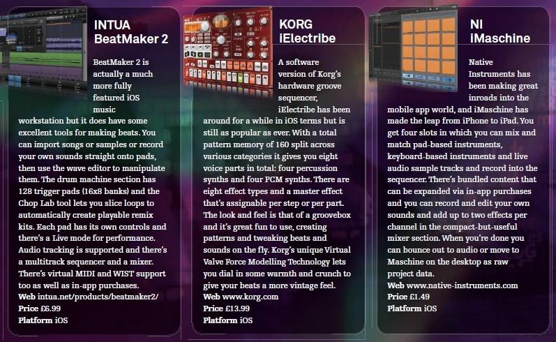 Intua - BeatMaker 2<br />KORG - iElectribe<br />NI - iMachine