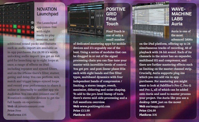 Novation - Launchpad<br />Positive Grid - Final Touch<br />Wave - Machine Labs - Auria