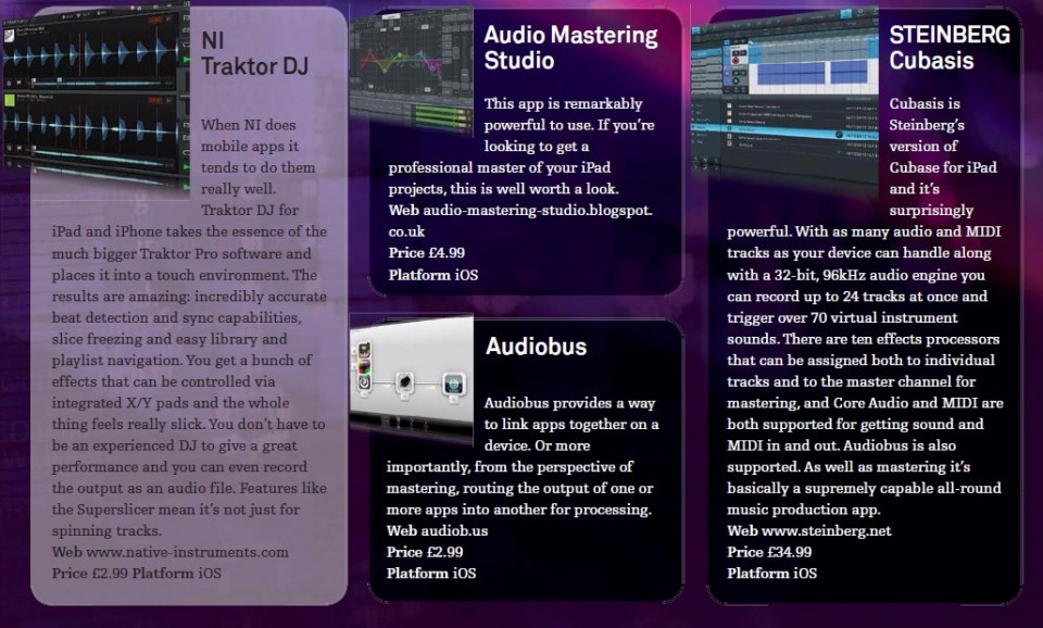 NI Traktor DJ<br />Audio Mastering Studio<br />Audiobus<br />Steinberg Cubasis