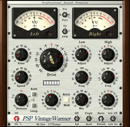PSP VintageWarmer is a high-quality digital simulation of an analog-style, a single or multi band compressor/limiter. It combines warm analog sound with a straightforward user interface, and comes with a rich library of presets. The plug-in processor is highly flexible and can be used for both single and multi-band compression, as well as brick-wall limiting. This makes it an essential tool for mixing and mastering engineers.<br /><br />Careful attention has been paid to PSP Vintage Warmer's overload characteristics with the processor being capable of generating saturation effects typical of analog tape recorders. PSP Vintage Warmer also incorporates professional VU and PPM metering together with accurate overload indicators thereby assuring professional quality results.