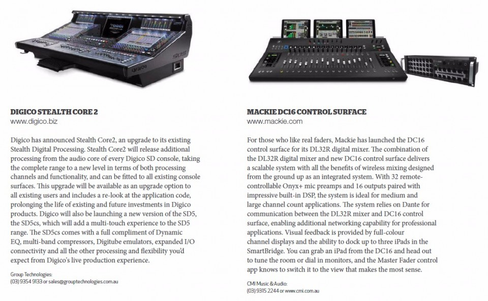 Digico - Stealth Core 2<br />Mackie DC16 Control Surface