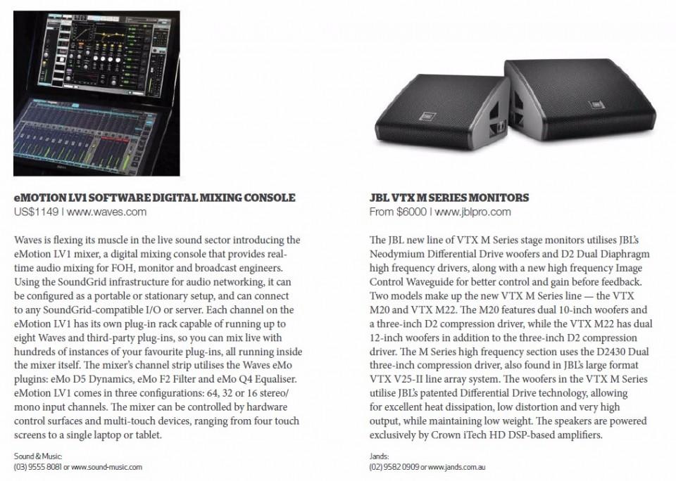 eMotion Software Digital Mixing Console<br />JBL VTX Series Monitors