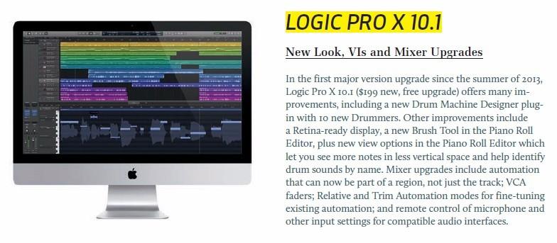 Logic Pro X 10.1 update