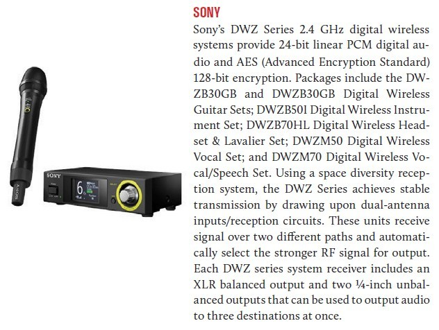 Sony SWZ Series 2.4 GHz digital wireless systems