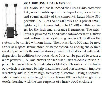 HK Audio USA - Lucas Nano 600