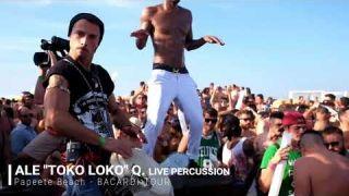 Papeete Beach summer party live percussion alessandro querzoli